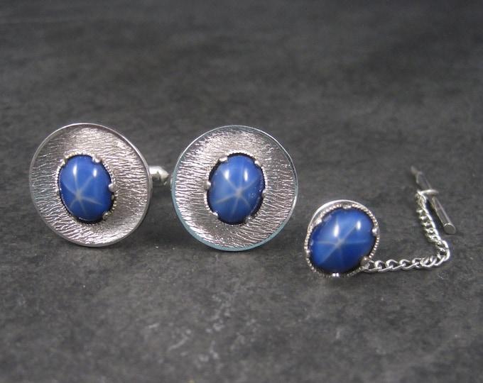 Vintage Faux Star Sapphire Cufflinks Tie Tack Set A. Micallef & Co