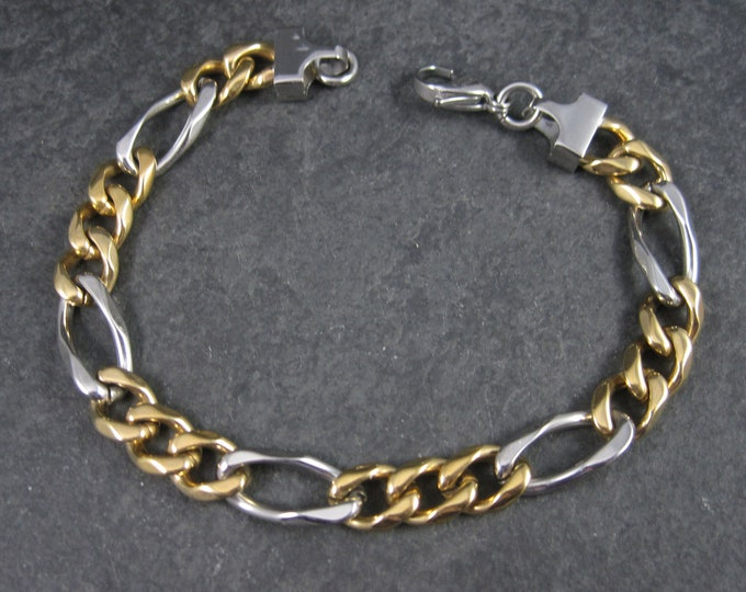 Vintage Two Tone Stainless Steel Figaro Bracelet 8.5 Inches