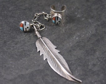 Vintage Southwestern Sterling Inlaid Sunface Ear Cuff Feather Earring
