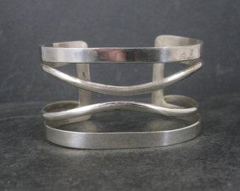 Wide Vintage Modern Sterling Cuff Bracelet 6.75 Inches