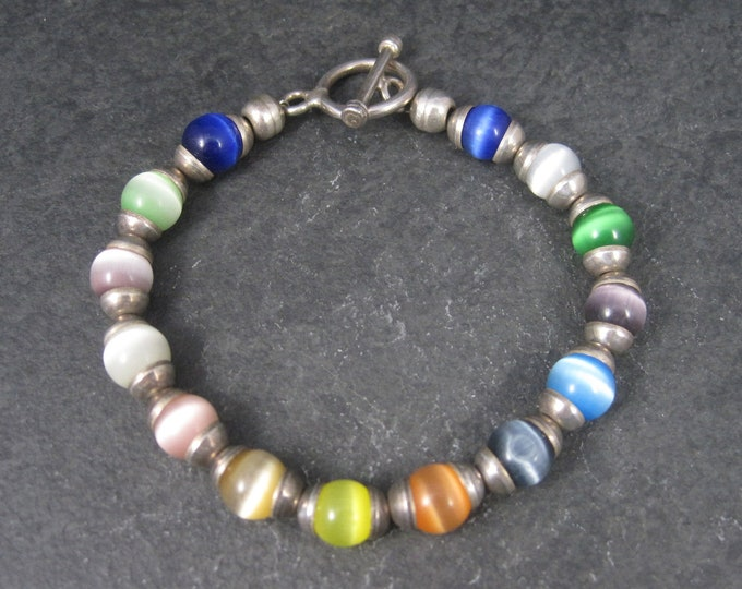 Vintage Sterling Rainbow Cats Eye Bead Bracelet 7.5 Inches