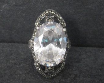 Large Vintage Cubic Zirconia Marcasite Ring Size 8