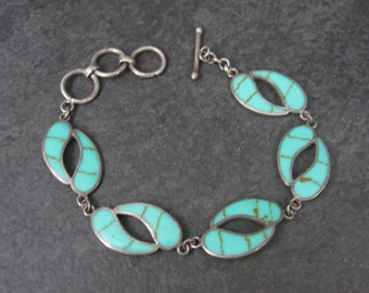 Vintage Sterling Enamel Toggle Bracelet 6-7 Inches
