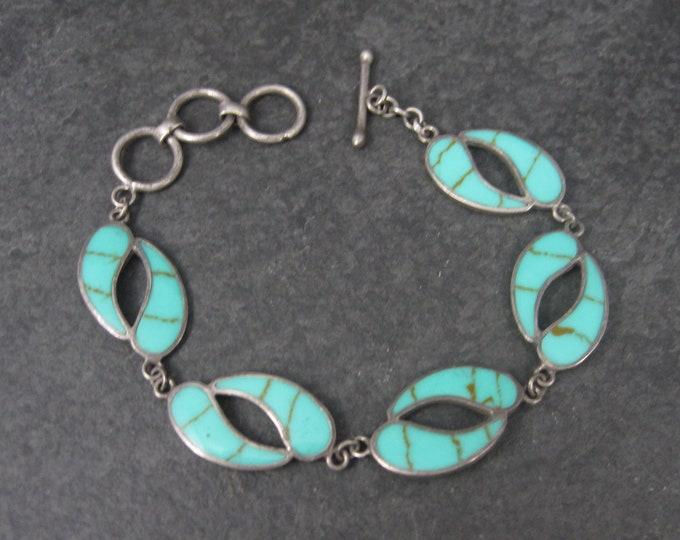 Vintage Sterling Enamel Toggle Bracelet 6-7 Inches