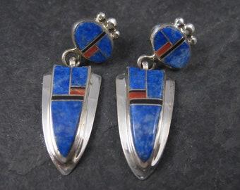 Vintage Sterling Navajo Coral Lapis Inlay Earrings Ervin Hoskie