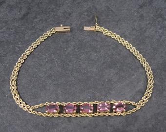 Vintage 14k 2.5 Ctw Tourmaline Bracelet 7 Inches
