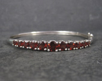 Sterling Garnet Bangle Bracelet 7 Inches