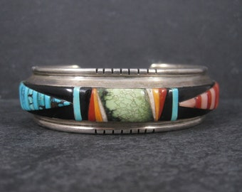 Vintage Navajo Inlay Cuff Bracelet  6.5 Inches Leroy Thomas