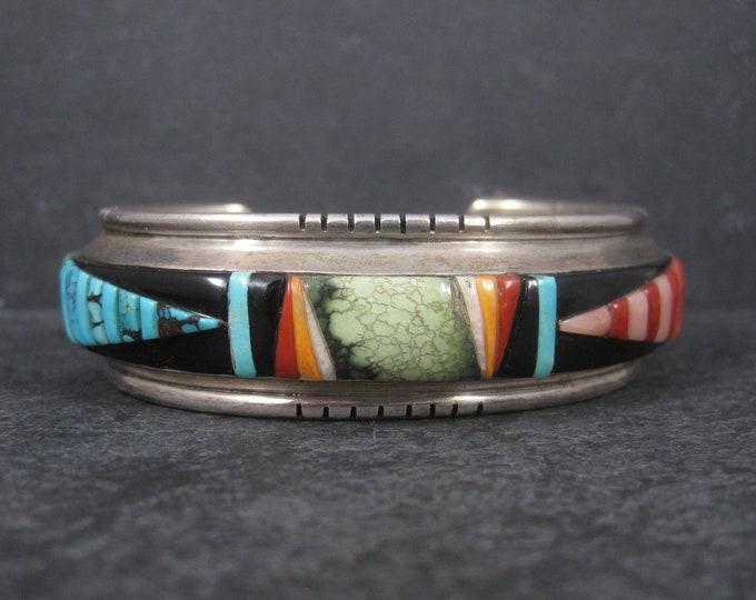 Vintage Navajo Inlay Cuff Bracelet  6.5 Inches Leroy Thomas