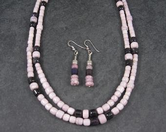 Vintage Sterling Navajo Kunzite Sugilite Necklace Leonard Platero New Old Stock