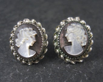 Vintage Mother of Pearl Cameo Earrings