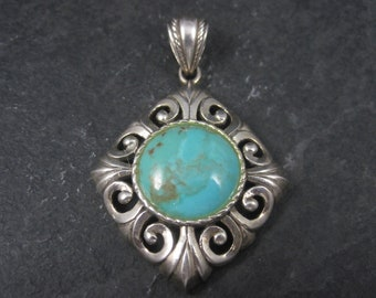 Vintage 90s Sterling Turquoise Pendant Thailand