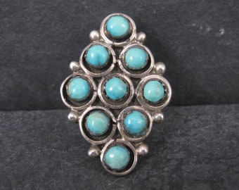 Large Vintage Native American Snake Eyes Turquoise Ring Size 7