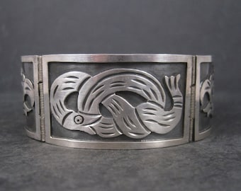 Vintage Mexican Sterling Snake Eagle Bracelet 7 Inches