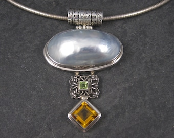 Large Vintage Sterling Peridot Topaz Mabe Pearl Pendant