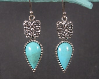 Long Vintage Sterling Balinese Turquoise Earrings