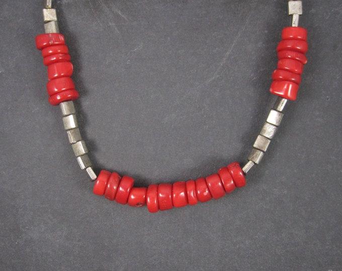 Vintage Genuine Disc Coral Necklace