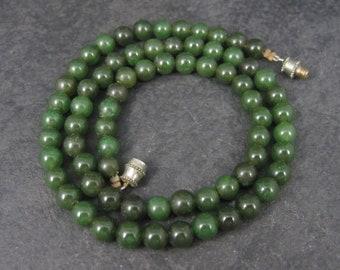 Vintage Jade Bead Necklace 17 Inches