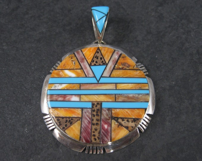 Large Vintage Sterling Spiny Oyster and Turquoise Pendant