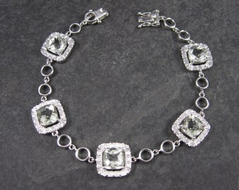 Estate 90s Sterling Green Amethyst Bracelet 7 Inches