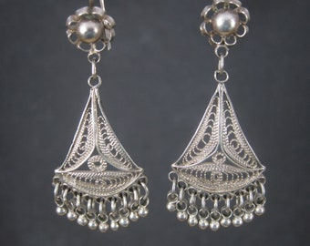 Vintage Sterling Filigree Earrings