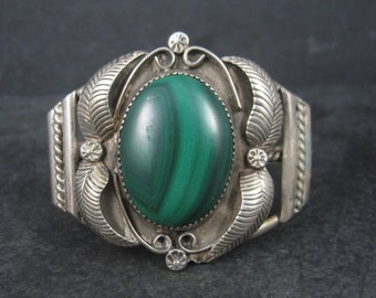 Vintage Navajo Malachite Feather Cuff Bracelet 6.5 Inches