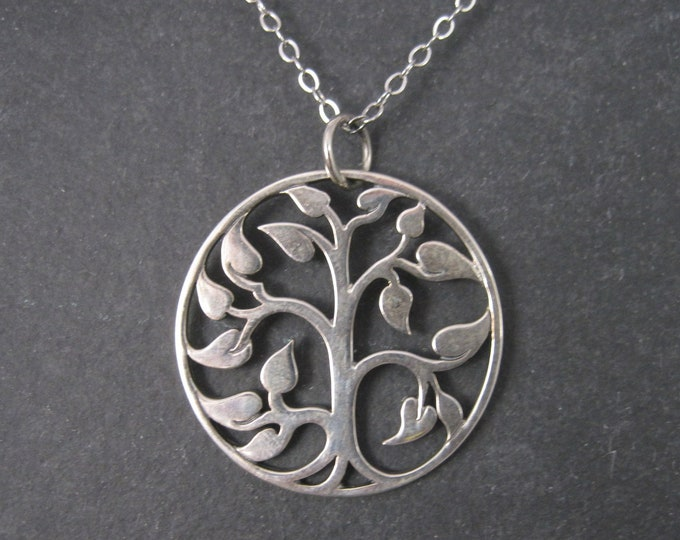 Vintage Sterling Round Tree Pendant Necklace