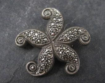 Vintage Sterling Marcasite Starfish Brooch