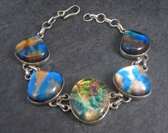 Ladies 90s Sterling Dichroic Glass Bracelet