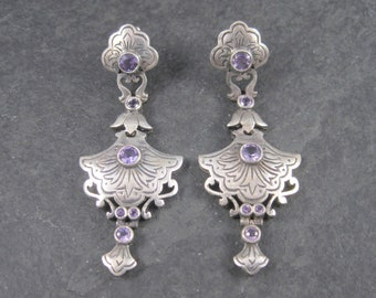 Sterling Art Nouveau Amethyst Dangle Earrings