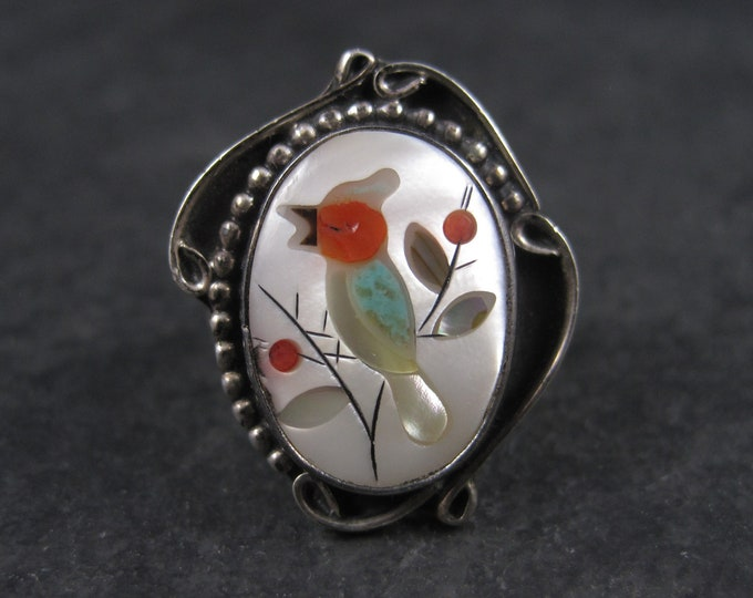 Vintage Navajo Micro Inlay Bird Ring Sterling Size 7