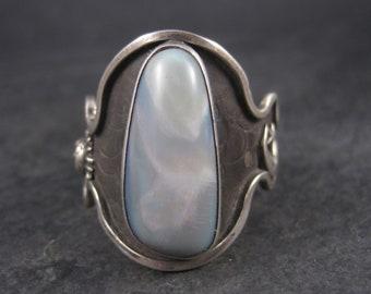 Huge Mens Celestial Moon Star Black Opal Ring Size 19