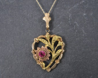 Antique 10K Rose Green Gold Pink Sapphire Heart Pendant EMCO