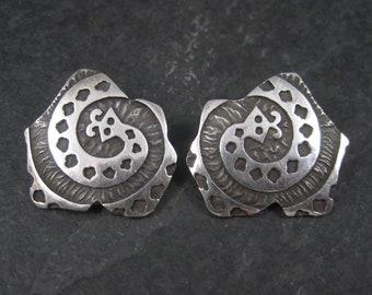Vintage Southwestern Sterling Clip On Snake Earrings