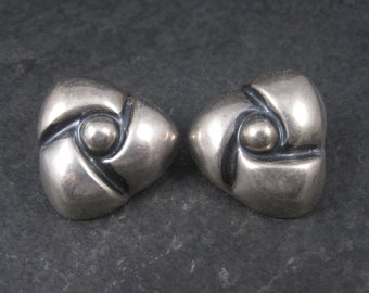 Mexican Sterling Modernist Clip On Earrings