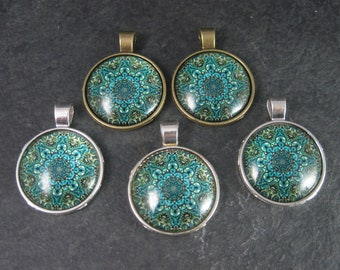 Lot of 5 Green Stained Glass Style Bubble Pendants Jewelry Making