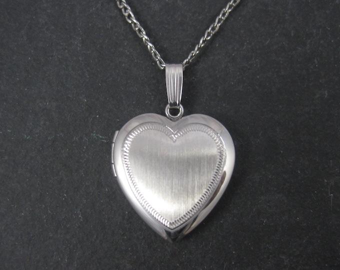 Vintage Sterling Heart Locket Pendant Necklace