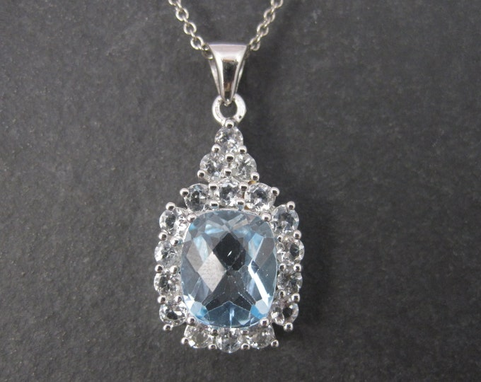 Vintage Sterling Blue White Topaz Pendant Necklace