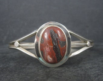 Vintage Sterling Petrified Wood Cuff Bracelet 7.75 Inches