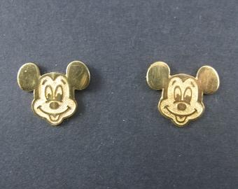 Vintage Licensed Disney Vermeil Sterling Mickey Mouse Earrings