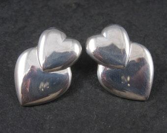 Large Vintage Sterling Heart Earrings