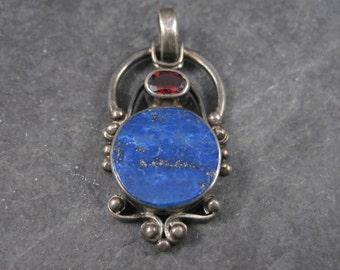 Vintage Sterling Lapis Garnet Pendant