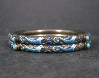 Vintage Chinese Sterling Enamel Turquoise Bird Bangle Bracelets Set of 2