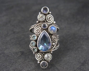 Large Sterling Topaz Tanzanite Moonstone Statement Ring Sajen Size 7.5