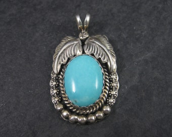 Vintage Sterling Turquoise Feather Pendant