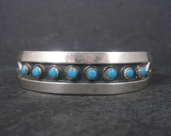 Vintage Southwestern Sterling Turquoise Cuff Bracelet 6.75 Inches Bell Trading