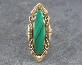 Vintage 12K Gold Filled Malachite Ring Size 7 Bell Trading