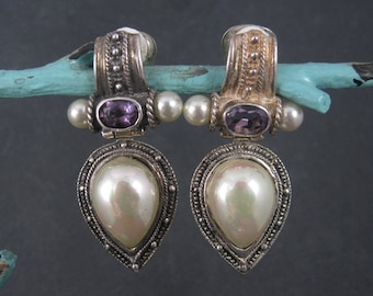 Large Sterling Amethyst Faux Pearl Clip On Earrings