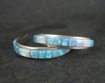 Large Vintage Southwestern Opal Inlay Half Hoop Earrings