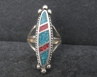Vintage Sterling Crushed Turquoise Coral Inlay Ring Size 5